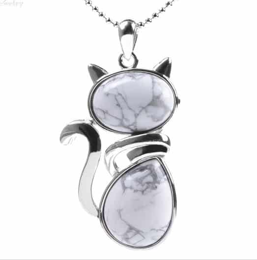 Pendentif chat Howlite