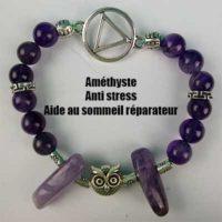 Bracelet Améthyste Hibou