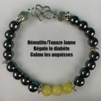 Bracelet Hématite Topaze Jaune modèle 1